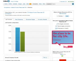 Statistiques ressources Humaines des entreprises sur Linkedin:exemple d'Adecco